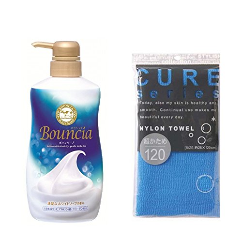 Gyunyu Bouncia Premium Floral Body Wash 550ml & Cure Series Japanese Exfoliating Bath Towel from OHE - Super Hard Weave - Blue, 120cm SET -  44571