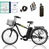 """NAKTO 26"""" 250W Cargo Electric Bicycle Sporting Shimano 6 Speed Gear EBike Brushless Gear Motor with Removable Waterproof Large Capacity 36V10A Lithium Battery and Battery Charger -Class AAA"""