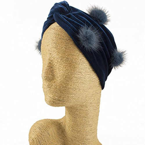 Fascinator, Velvet Headbands, Millinery, Worldwide Free Shipment, Delivery in 2 Days, Customized Tailoring, Designer Fashion, Head wrap, Bohemian Accessories, Blue, Pom Pom, Boho Chic by Elipeacock