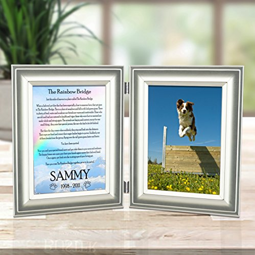 Pet Memorial Picture Frame - Rainbow Bridge Poem Personalized With Pet's Name - Sculpted Metal Matt Pewter Double Frame Holds 4x6 Photo & Poem - Free Sympathy Card & Gift - Heart Etched In My