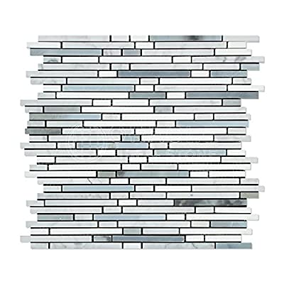 Thassos White Greek Marble Bamboo Sticks (Thassos+Carrara+Blue&Gray) Mosaic Tile, Polished