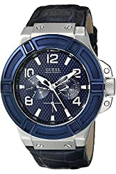 GUESS STEEL W0040G7,Men's Rigor Multi-Function Dress Sport,Leather Strap,Stainless Steel Case,Screw Crown,100m WR