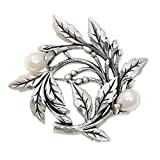 NOVICA Silver White Cultured Freshwater Pearl .925 Sterling Silver Floral Brooch Pin  Budding Cotton