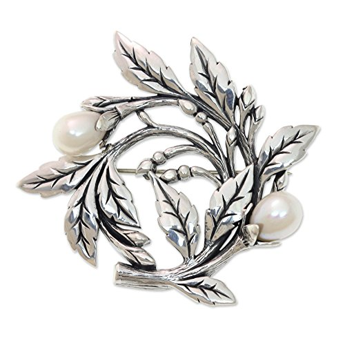 NOVICA Silver White Cultured Freshwater Pearl .925 Sterling Silver Floral Brooch Pin