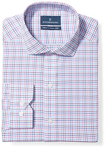 BUTTONED DOWN Men's Tailored Fit Cutaway-Collar Pattern Non-Iron Dress Shirt, Berry/Blue/Navy Check, 20