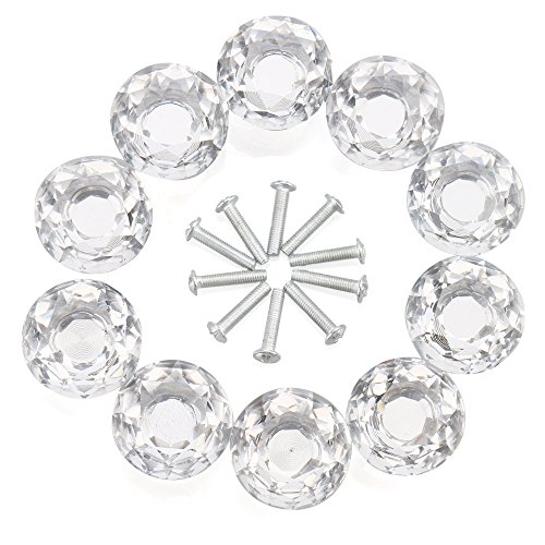 Drawer Knob, RilexAwhile 10-Pack 30mm Crystal Cabinet Knob Drawer Glass Pull Handle Diamond Shape Cupboard Knobs for Kitchen, Home Office