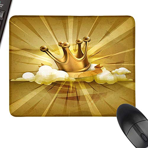 King Hot Selling Extra Large Mouse Pad Medieval Fairytale Inspired Crown with Clouds Abstract Bold Striped Image for Computers, Laptop, Office & Home 11.8