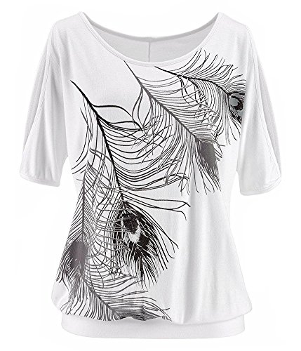 Jusfitsu Courtes Plume Sexy Femme Shirt Chemise Tops 2 T Blanc Casual Manches paule RYTWR4rnq