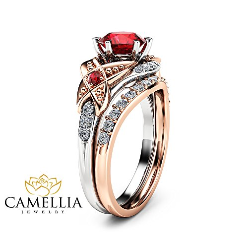 2 Tone Gold Engagement Ring Set 14K Vintage 1ct Natural Ruby Rings ()