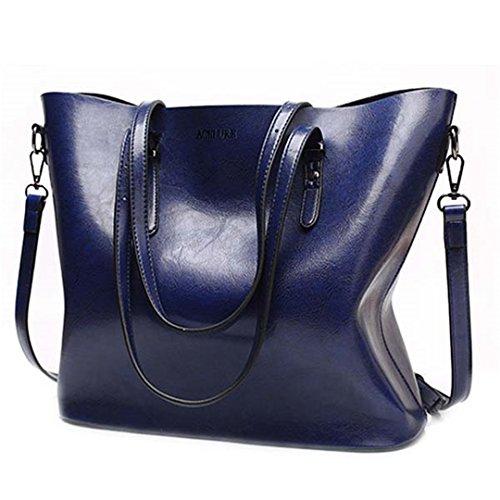 Las mujeres bolsas de hombro mujer bolsos de cuero de cera de aceite de gran capacidad de cuero pu Casual Bolso gris Bolso Messenger Blue