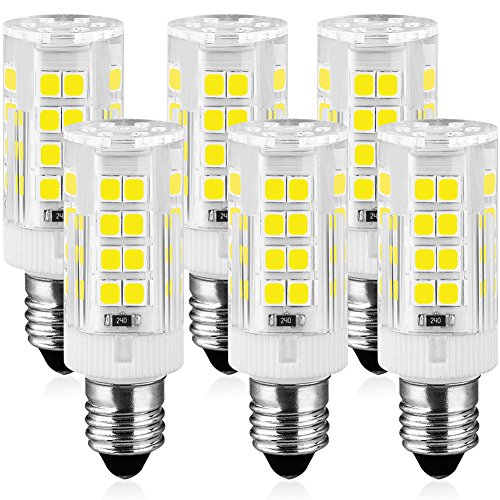 KINDEEP E11 LED Bulb, Mini Candelabra Base, AC120V 5W, 6000K Daylight E11 LED for Chandeliers Ceiling Fan Light, Not Dimmable, 6-Pack