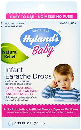 Hyland's Baby Infant Earache Drops, Natural Homeopathic Relief of Ear Pain and Irritability, 0.33 Ounce (Swimmers Ear Homeopathic)