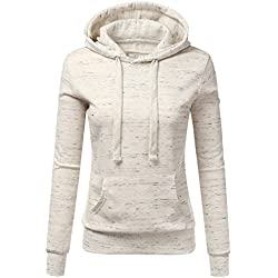 Doublju Basic Lightweight Pullover Hoodie Sweatshirt For Women MARLEDOATMEAL Medium
