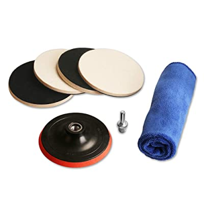"ZFE 5"" Felt polishing pad, 4Pcs Wool Felt Disc Polishing Pads Buffing Pads and Backing Pad with M14 Drill Adapter Kit for Car Light Polishing: Automotive"