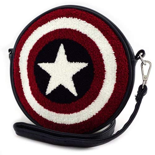 Loungefly Captain America Shield Faux Leather Crossbody Bag Standard -