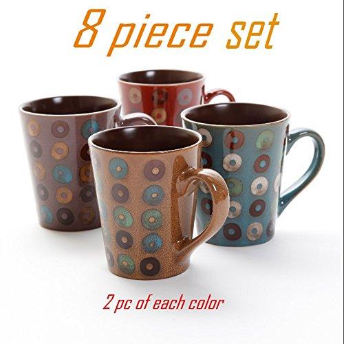 Coffee Mug Dual Tone Coffee cup Set by GIBSON Coffee Mug Set Stoneware Coffee mugs Assorted Colors 8 piece set, 13 oz ( 2 mugs for each color ), Cafe (2 Coffee Cups Mug)