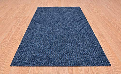 RugStylesOnline Tough Collection Custom Size Roll Runner Blue 27 in or 36 in Wide x Your Length Choice Slip Resistant Rubber Back Area Rugs and Runners (Blue, 27 in x 5 ft)
