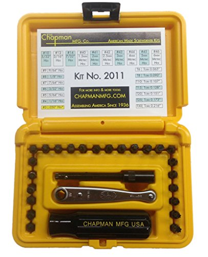 (Chapman MFG #2011 Euro/Metric USA Made hand tool Screwdriver Set Offset Midget Ratchet)