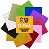 """PrimeCuts USA Glitter Heat Transfer Vinyl Sheets - 11 Sheets Glitter Color Pack 12"""" x 10"""" for T Shirts, Hats, Clothing - Best Iron On HTV Vinyl for Silhouette Cameo, Cricut or Heat Press Machine Tool"""