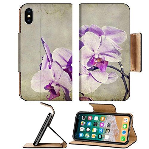 MSD Premium Apple iPhone X Flip Pu Leather Wallet Case Pink orchid on vintage background IMAGE (Vintage Orchid)