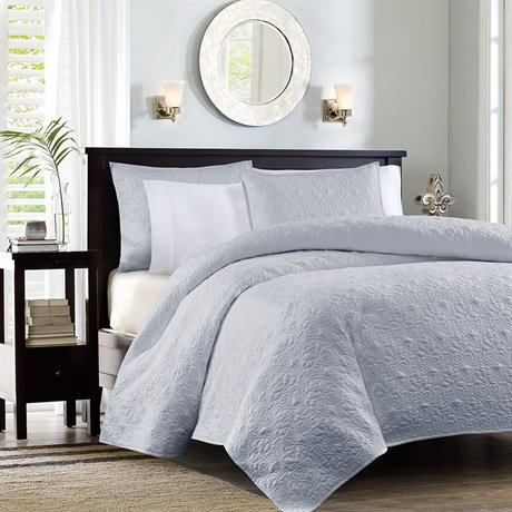 Madison Park Quebec Dusty Pale Blue 3-Piece Quilted King Coverlet Set—For King or Cal King Bed –Ideal For Warm Climate…