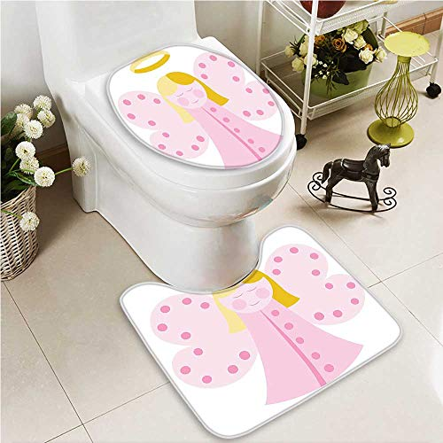 VROSELV Toilet carpet floor mat Baptism Design Boy Christening Striped Dotted Background Christian 2 Piece Shower Mat set by VROSELV