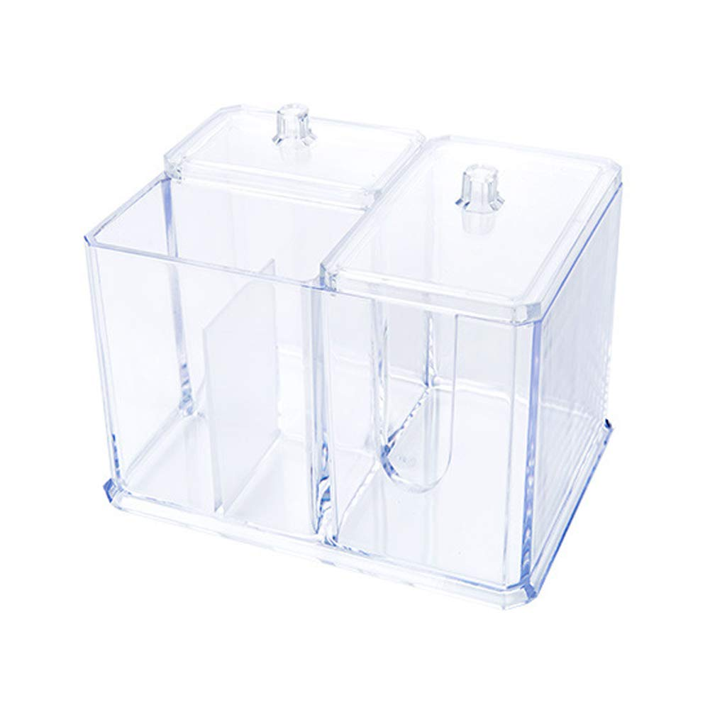Cosmetic Storage Desktop Organizer Box Case Clear Plastic Cotton Ball & Swab Holder with Lid Cosmetic Caddy for Q-Tips, Lipstick, Makeup Pads, Jewelry, Makeup Brush, Nailpolish, Bathroom Cosmetic Case