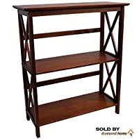 Walnut Brown Montego Horizontal Bookcase - This Mid Century Shabby Chic Modern Walnut Bookcase Features 3 Tier Shelves