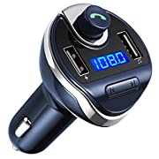 #LightningDeal 87% claimed: Criacr Bluetooth FM Transmitter, Wireless In-Car Radio Transmitter Adapter Car Kit, Universal Car Charger with Dual USB Charging Ports, Hands Free Calling for iPhone, Samsung, etc (Blue)