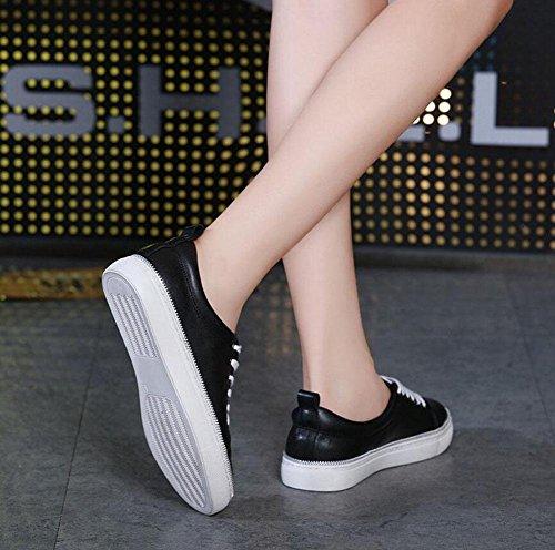GLTER Femmes, Chaussures décontractées en plein air, simples, rondes, suture, suture, ligne, petites chaussures blanches, chaussures de skate, blanc noir