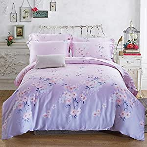 Spring and summer days on both sides four set smooth cool nude bed sheet quilt cover,Full,11