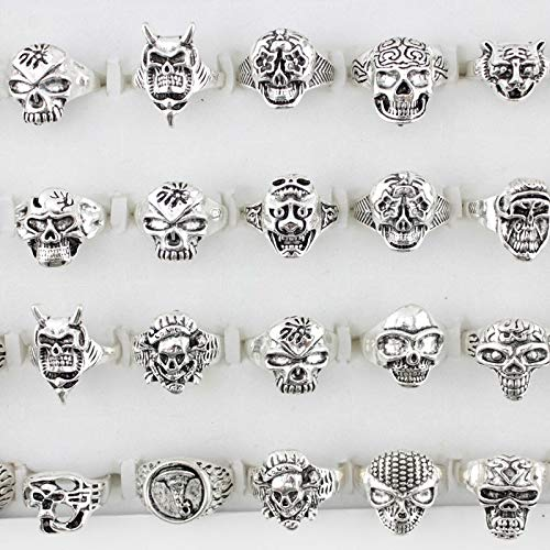 - Vintage Skull Rings for Women | Metal Zine Alloy Punk Small Skeleton Couple Rings | Engagement Ring | Men Jewelry (25 Pieces)