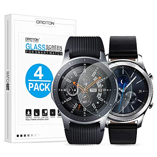 [4 Pack] OMOTON Tempered Glass Screen Protector Compatible with Samsung Galaxy Watch 46mm & Gear S3