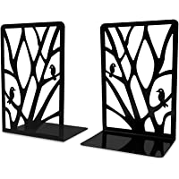 Metal Bookends for Shelves Heavy Duty, Black Decorative Book Ends Stand to Hold Books, Nonskid Art Book Holder Stopper…