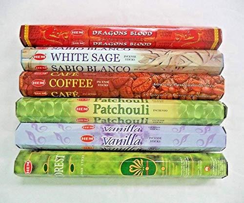 - Hem Incense Sticks Dragons Blood White Sage Coffee Patchouli Vanilla Forest 6 x 20 = 120 Stick Variety Pack