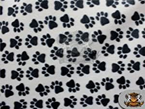 "Fleece Fabric Printed * ALLOVER PAW PRINT BW * / 58"" W / Sold by the yard N-480"