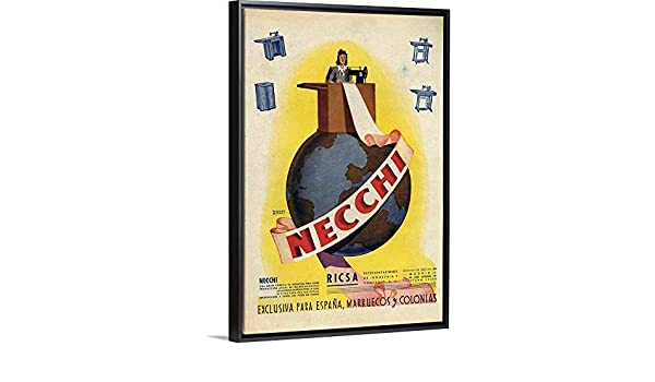 Amazon.com: Floating Frame Premium Canvas with Black Frame Wall Art Print Entitled Necchi Sewing Machine Advertisement 32