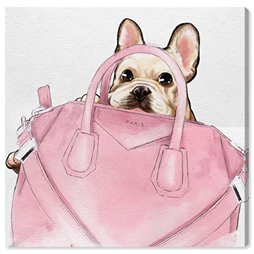 The Oliver Gal Artist Co. Fashion and Glam Wall Art Canvas Prints 'Frenchie with Pink Bag' Home Décor, 20