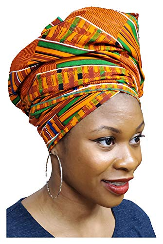 Dupsies Kente African Print Head wrap with Green Trim One Size Multicolor