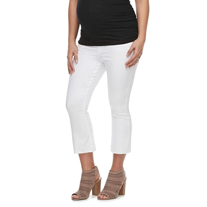 510f9262ab9 a glow Maternity Belly Panel Cropped Flare Jeans at Amazon Women s ...