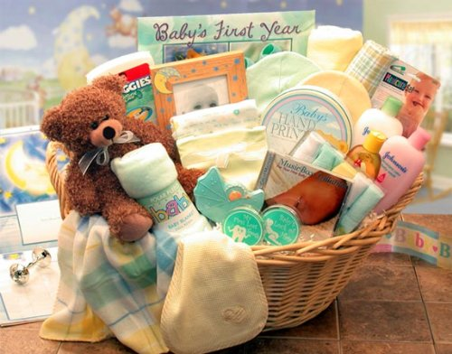 Trendy Baby Gift Baskets : Gender neutral baby gift welcome home precious