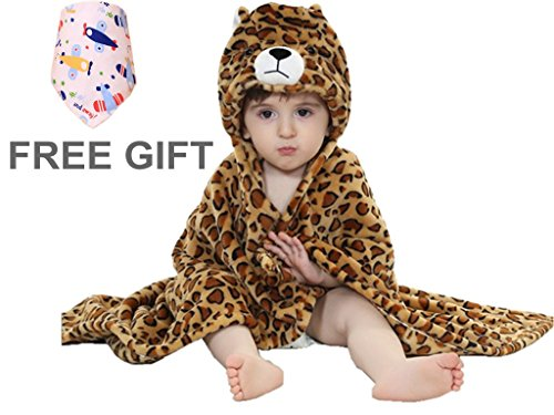 Baby Blanket, Priors™ NewBorn Baby Gift Animal Cartoon Hooded Flannel Blanket (Brown Leopard)