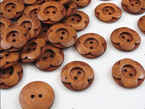 YAKA Wholesale 50pcs New 2 Hole Wood Buttons Flower 25mm Sewing Craft - Flower Button