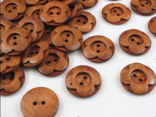 - YAKA 50pcs 2 Hole Handmade flower type wood sewing button for Craft Sewing Button 1inch