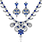 Epinki Silver Plated Jewelry Set, Art Crown Flower Leaf Drop Blue Rhinestone Necklace And Earring Set
