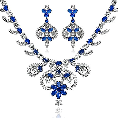 Epinki Silver Plated Jewelry Set, Art Crown Flower Leaf Drop Blue Rhinestone Necklace And Earring Set by Epinki