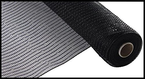 Wide Foil Deco Poly Mesh Ribbon, 10 Inches x 30 Feet (Black, Black Foil) -