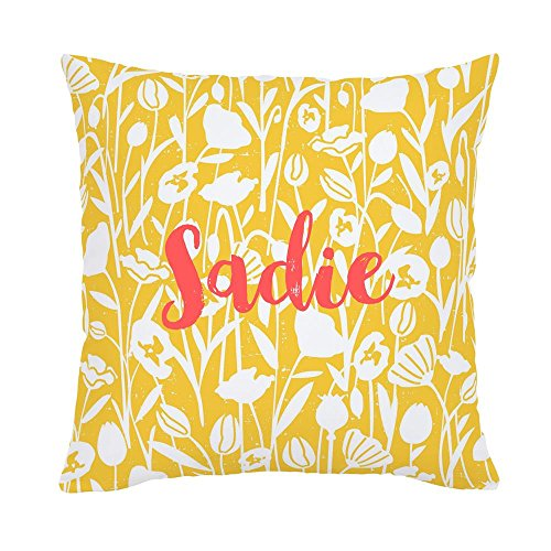 Carousel Designs Personalized Custom Saffron Poppies Throw Pillow Sadie Idea - Organic 100% Cotton Throw Pillow Cover + Insert - Made in the USA