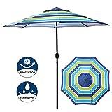 Blissun 9' Outdoor Aluminum Patio Umbrella, Market Striped Umbrella with Push Button Tilt and Crank