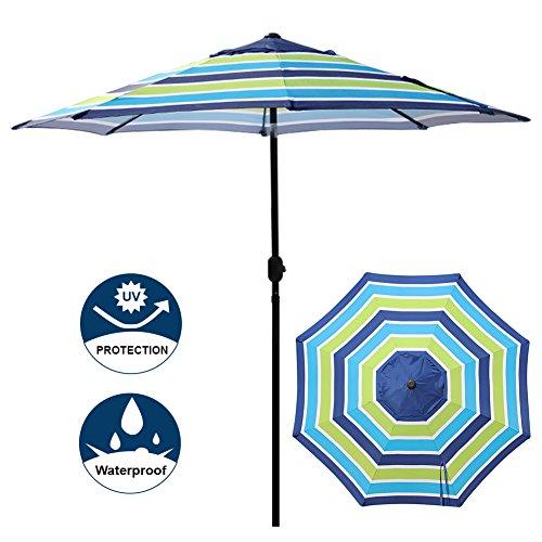 Blissun 9' Outdoor Aluminum Patio Umbrella, Market Striped Umbrella with Push Button Tilt and Crank (Blue & Green Stripe) -